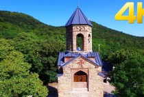 Martkopi monastery, Deity church, Georgia, Kakheti, 4K aerial video footage   DJI Inspire 1 Drone